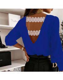 Елегантна дамска блуза в тъмносиньо с ефект на гърба - код 5155