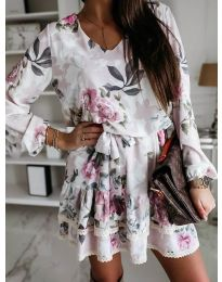 Бяла дамска рокля с флорални мотиви - код 105