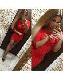 Дълга рокля в червен цвят - код 3746
