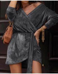 Дамска рокля в тъмно сиво - код 238