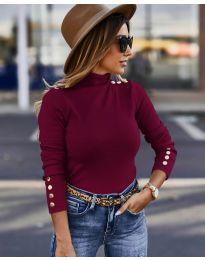 Дамска блуза с поло яка в бордо - код 5259
