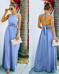 Атрактивна дълга рокля в светлосиньо - код 6121