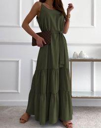 Дълга дамска рокля в масленозелено - код 2578