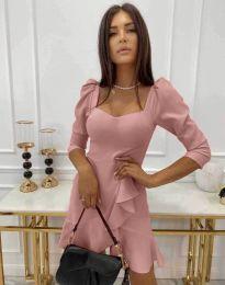 Елегантна дамска рокля в цвят пудра - код 0719