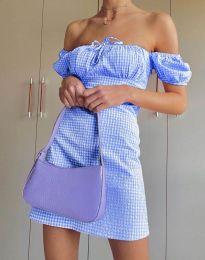 Карирана дамска рокля в светлосиньо - код 2594