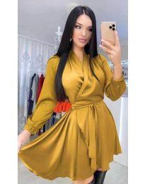 Екстравагантна рокля в цвят горчица - код 5931