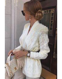 Дамска жилетка в бяло  - код 6878