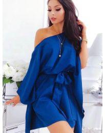 Свободна рокля с колан в синьо - код 638