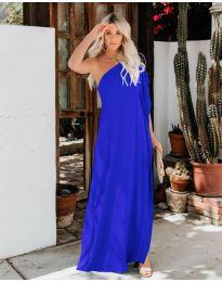 Дълга рокля с цепка в тъмно синьо- код 6681
