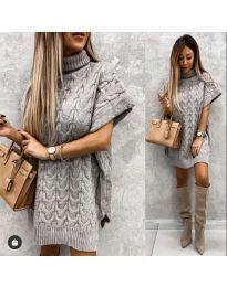 Дамска туника от плетиво с поло яка в сиво - код 0781