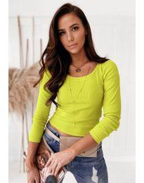 Изчистена дамска блуза в неоново жълто - код 8365