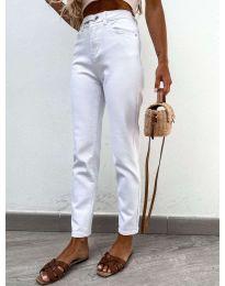Модерни дамски дънки в бяло - код 4787