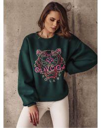 Свободна дамска блуза в тъмнозелено с принт - код 5956