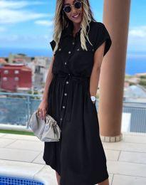 Свободна дамска рокля в черно - код 6344