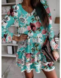 Тюркоазена дамска рокля на цветя - код 105