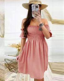 Дамска рокля в цвят пудра - код 1409