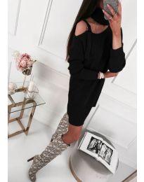 Плетена рокля с ефектно деколте и голо рамо в черно - код 156