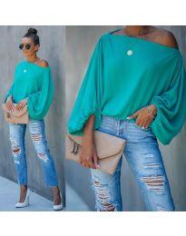 Дамска блуза в цвят тюркоаз - код 5151