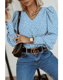 Атрактивна дамска блуза в светлосиньо - код 3250