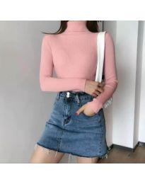 Дамска блуза с поло яка в розово - код 0055