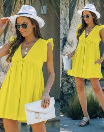Къса дамска рокля в жълто - код 7141