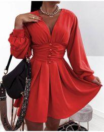 Екстравагантна рокля в червено - код 4343