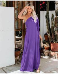 Дълга рокля с цепка в  тъмно лилаво - код 6681