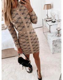Дамска рокля с десен в бежово - код 0598