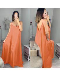 Свободна дълга рокля в оранжево - код 6600