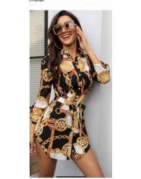Дамска рокля с яка и колан - код 157 - 2