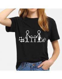 Тениска в черно с принт семейство - код 384