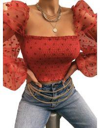 Стилна блуза с ефектни ръкави в червено - код 4419