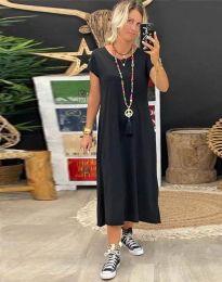 Свободна дамска рокля в черно - код 6357