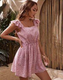 Къса дамска рокля в цвят пудра на цветя - код 6525