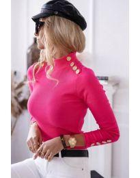Дамска блуза с поло яка в цвят циклама - код 6343