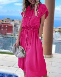 Свободна дамска рокля в цвят циклама - код 6344