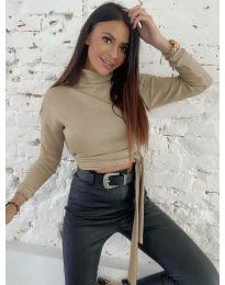 Къса дамска блуза в в цвят капучино - код 5757