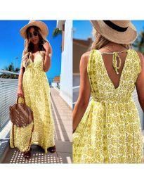 Дълга рокля с атрактивен десен в жълто - код 675