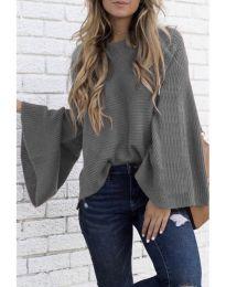 Блуза с ефектни ръкави в сиво - код 076