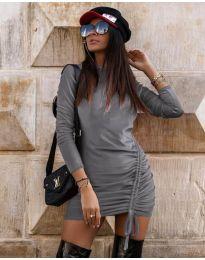 Дамска рокля в сиво  - код 9545