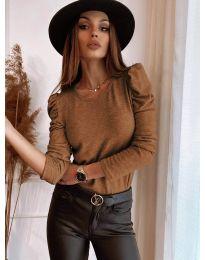 Дамска блуза в кафяво - код 9556
