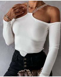 Атрактивна дамска блуза в бяло - код 12050