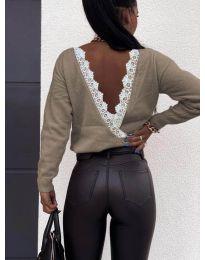 Дамска блуза с ефектен гръб в бежово - код 6050
