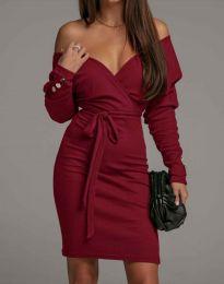 Дамска рокля в бордо - код 4765