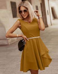 Атрактивна дамска рокля в цвят горчица - код 8917