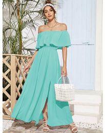 Дълга дамска рокля в цвят тюркоаз - код 698