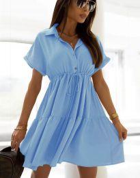 Разкроена дамска рокля в светлосиньо - код 6292