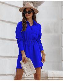 Рокля тип риза в синьо - код 132