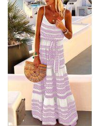 Дълга рокля с атрактивен десен в лилав цвят - код 621