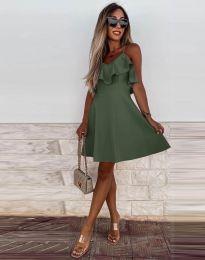 Атрактивна дамска рокля в масленозелено - код 2739
